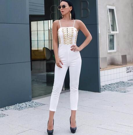 Hot Selling Bandage Jumpsuits Lace Up Spaghetti Strap Club Bodysuits Rayon Elastic Knitted Slim Fit Woman Clothes