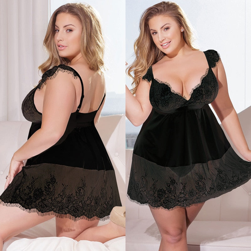 Women Sexy Deep V Plus Size 4xl 5xl White Sex Erotic Lingerie Lace Strap Dress Lingerie Sexy Nightdress Costume Sexy Female Hot