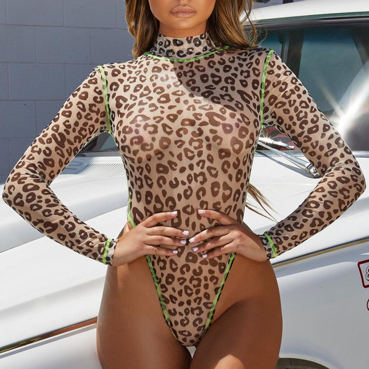 Cryptographic Neon Long Sleeve Leopard Bodysuit Turtleneck Romper Womens Jumpsuit Autumn Female Tops Slim Fashion Club Body
