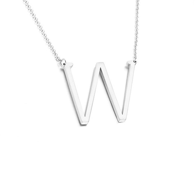 Stainless steel A-Z Letter Necklaces Big Letter Initial Necklace Gold Silver Personalized Statement LayeringNecklace Collier