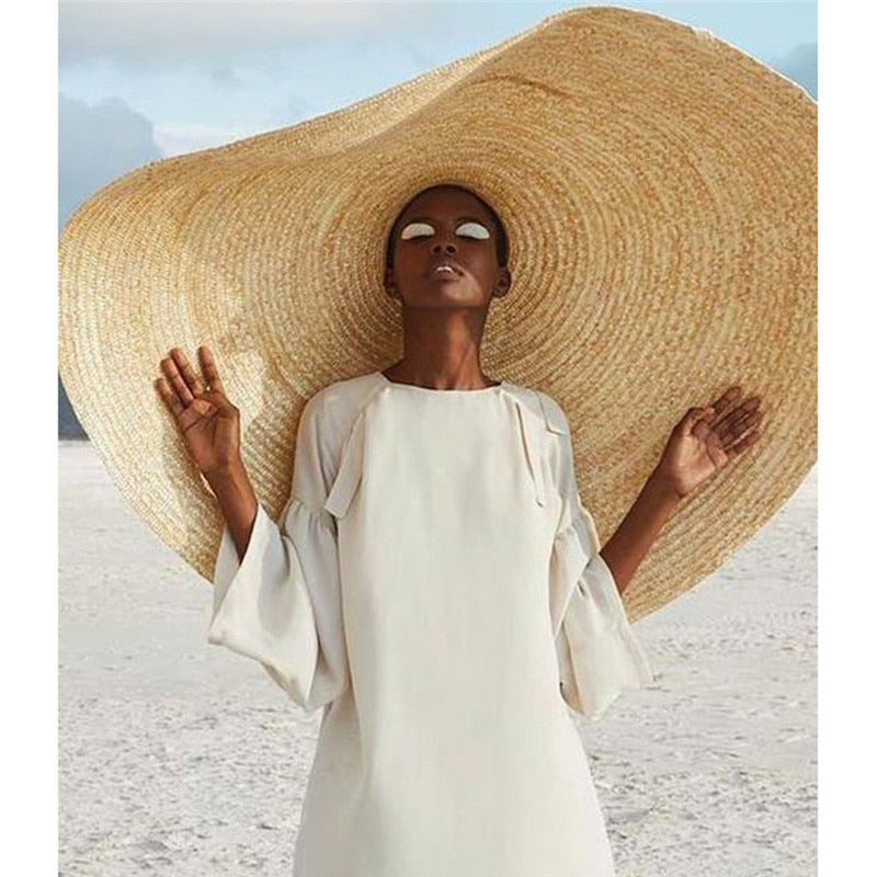 Woman Fashion Large Sun Hat Beach Anti-UV Sun Protection Foldable Straw Cap Cover Oversized Collapsible Sunshade Beach Hat
