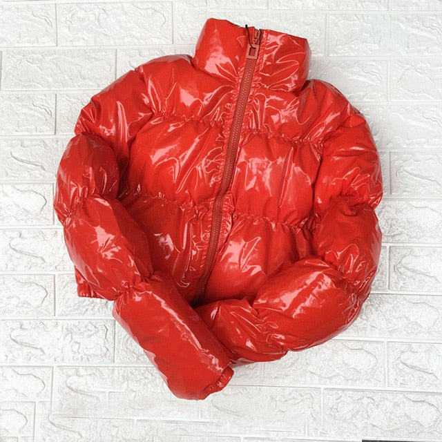 Cropped Down Parka Puffle Jacket  Bubble  Coat Winter Women New Fashion Short  Clothing Black Red Hot Pink Yellow