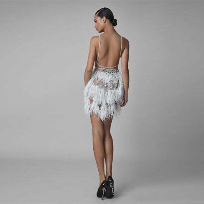 Fashion White Feathers Beaded Mini Evening Formal Dresses Sexy Spaghetti Strap Backless Women's Above Knee Party Dresses Custom