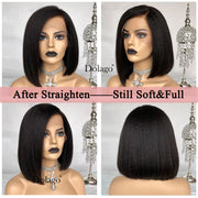 Kinky Straight 13x6 Lace Front Human Hair Wigs For Women 180 Density Coarse Yaki Brazilian Short Bob Wig Dolago Black Full Remy