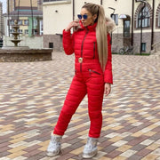 New Winter Hooded Jumpsuits Parka Elegant Cotton Padded Warm Sashes Ski Suit Straight Zipper One Piece Women Casual Tracksuits