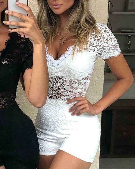 Womens Holiday Mini Playsuit Party Jumpsuit Summer Lace Sundress Lady Lace Bodysuit