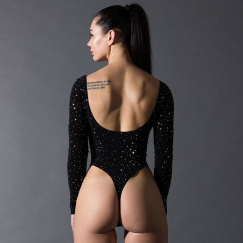 Women One-Piece High Cut Thong Leotard Bodysuit Romper Monokini Playsuit