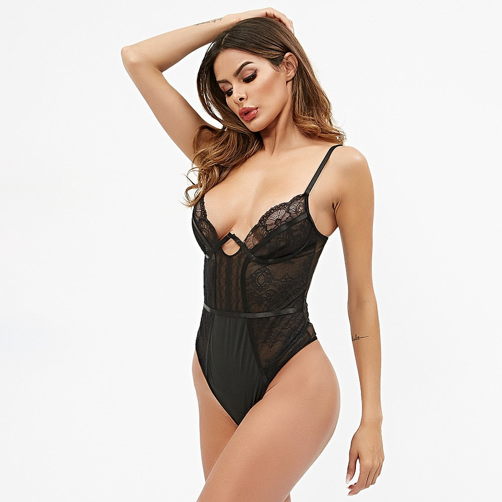 Mesh Lace Bodysuit Women Jumpsuit Pink Sexy Body for Women V-Neck Sexy Transparent Bodycon Black Overalls for Women