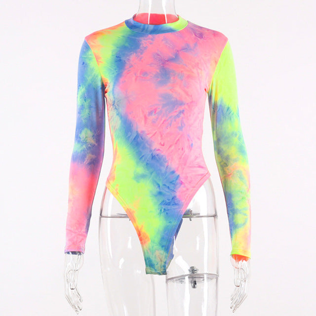 Cryptographic Tie Dye Print Long Sleeve Bodysuits Casual Romper Womens Jumpsuit Autumn Female Tops Slim Fashion Club Body