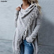 new hot sale women's spring autumn women's knitted long irregular sweater women casual tassel cardigan shawl Laipelar