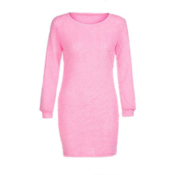 Fashion Causal o neck Long Sleeve dress Women Solid Fleece Warm Basic Sweater dress female autumn winter Mini party Dress