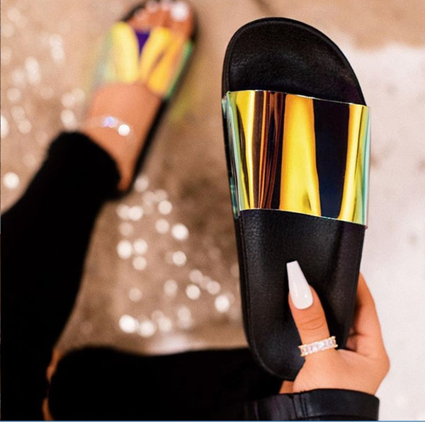 Bling summer women slipper new ladies open toe Comfort slip on flat Leisure sandals Female Outdoor beach shoes Zapatillas
