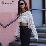 Simenual Lace Up Backless Autumn Sweater Women Long Sleeve Cropped Pullovers Sweater Knitted Fashion Casual Basic Jumpers