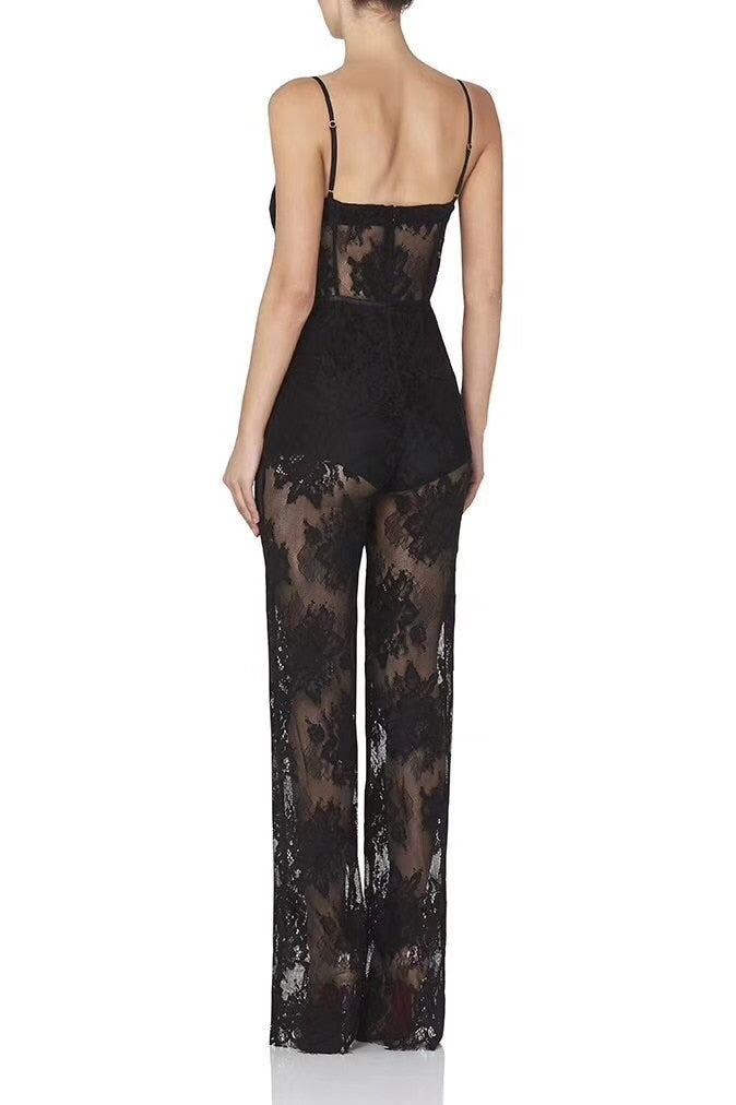 Plus Size XL XXL Newest Ladies Sexy Lace Black Beige Bandage Jumpsuit Celebrity Designer Fashion Jumpsuit