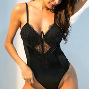 Black Lace Underwired Cup Detail Bodysuit - Miss.be