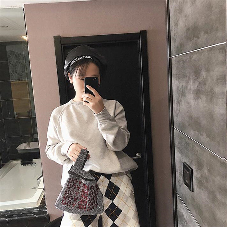 luxury handbag new design fashion Shiny diamond letters tote bag Girls Evening Party Bag Fashion Casual handbags purse