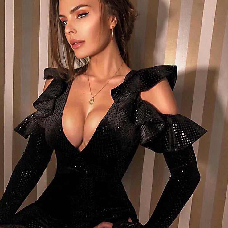 Kricesseen Sexy Black Sequins Ruffles Sleeve Mini Dress Women Cut Out Details V Neck Bodycon Party Club Dress Vestidos