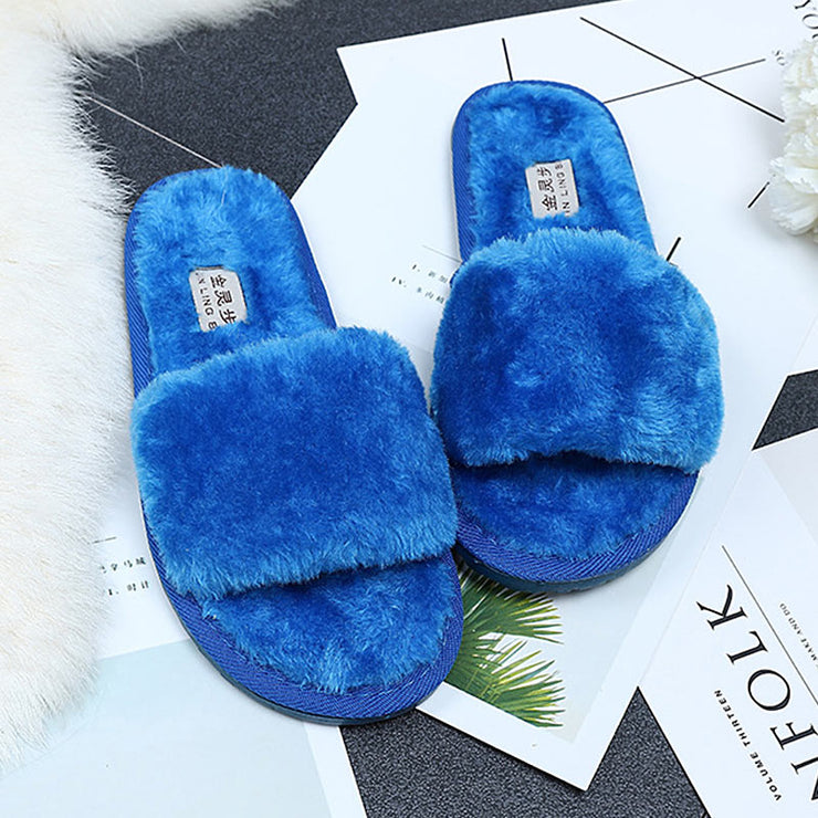 Winter Women House Slipper Plush Slippers fur slides Fluffy Faux Not-slip Flat Sandals Female Casual Shoes Zapatos Mujer