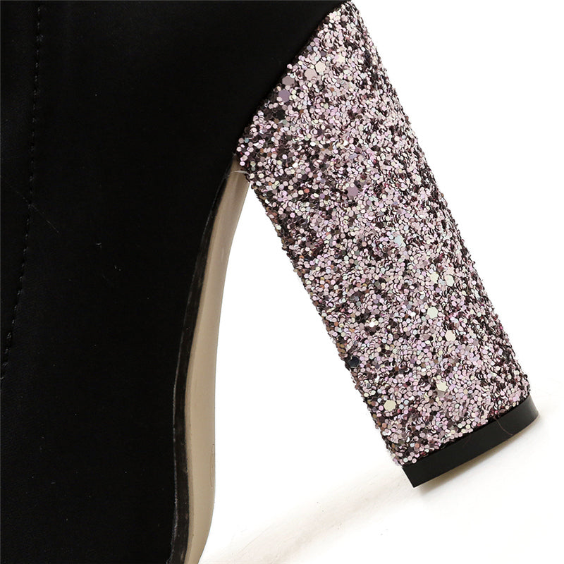 Fashion Women 10cm High Heels Glitter Fetish Boots Bling Thick Block Heels Luxury Bling Ankle Boots Stretch Chunky Shoes