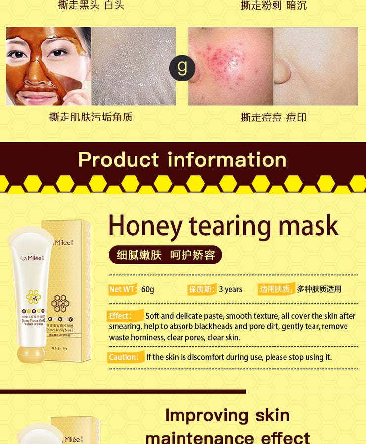 Honey tearing mask Peel Mask oil control Blackhead Remover Peel Off Dead Skin Clean Pores Shrink Facial care face Skincare mask