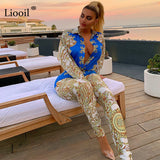 Liooil Gold Print 2 Piece Set Club Party Outfits For Women Fall 2019 Long Sleeve Shirt Top And Bodycon Pants Sexy Matching Sets