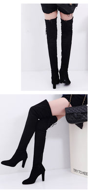 Sexy Party Boots Fashion Suede Leather Shoes Women Over the Knee Heels Boots Stretch Flock Winter High Boots botas
