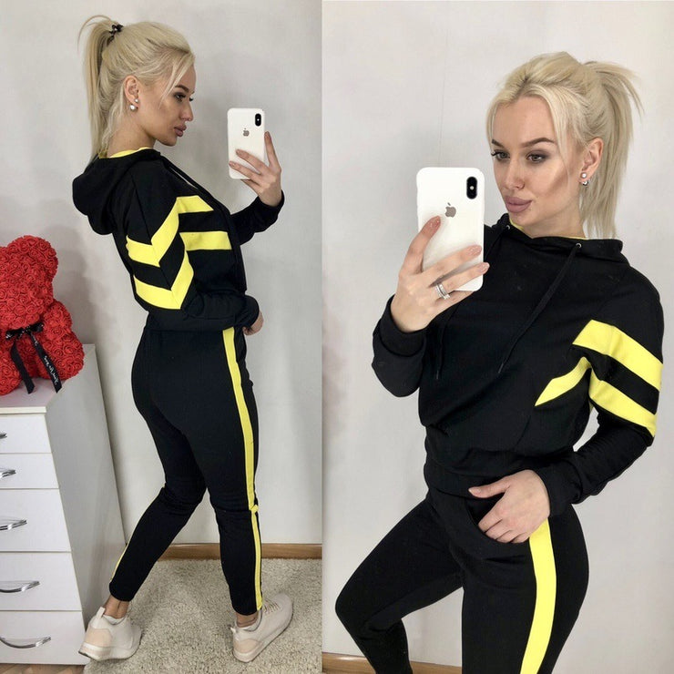 Spring Autumn Women 2 Pieces Sets Stripe Spliced Sweatshirt Ankle Length Harm Pants Oversize Tracksuits Hoodies Outfiits