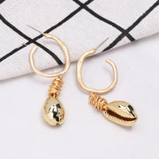 New Sea Shell Pendant Earrings Gold Statement Earrings For Women Weddings Party Irregular Geometric Jewelry Gift