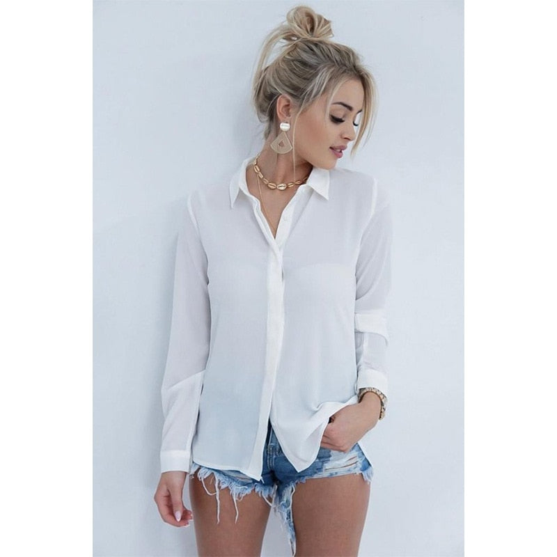 Backless Lace Patchwork White Shirt Womens Tops and Blouses Turn-down Collar Long Sleeve Chiffon Blouse Women Summer Blusas