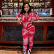 Simenual Fitness Tight Striped Long Sleeve Jumpsuit Female Workout Sporty Active Wear V Neck Zipper Hot Rompers Womens Jumpsuit