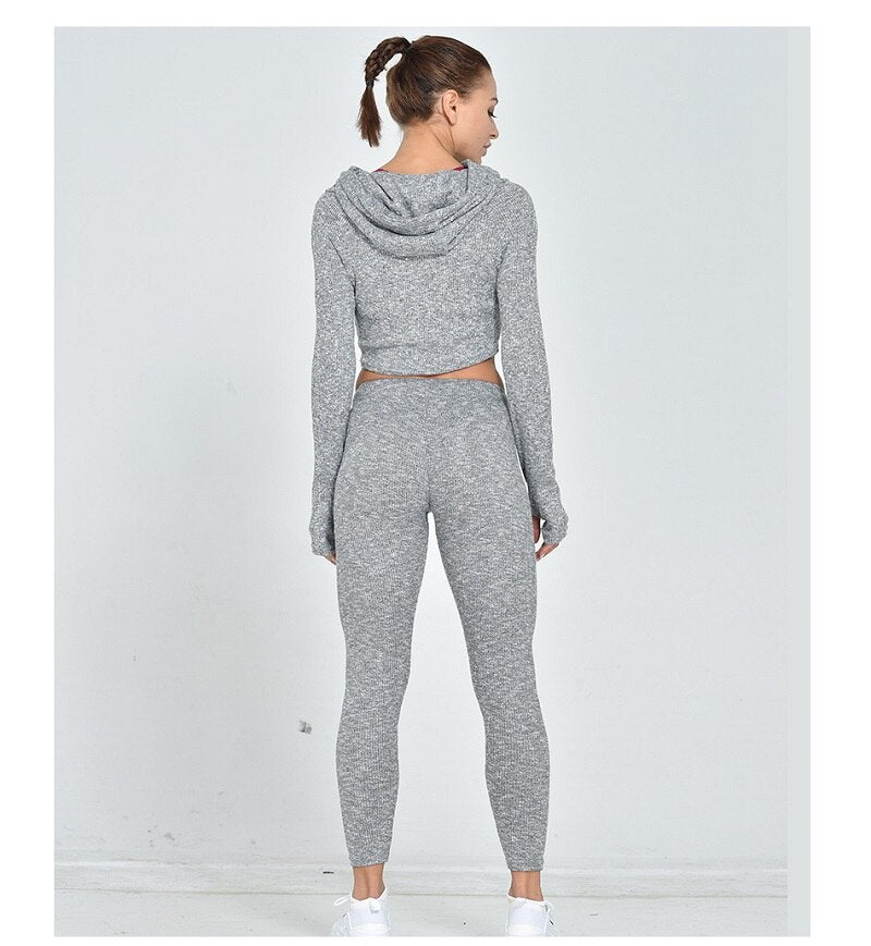 Tracksuit 2 piece set Women Set Hoodies Crop Top Sweatshirt+long Pants Hooded two Pieces Sets Women Clothing Suits Female