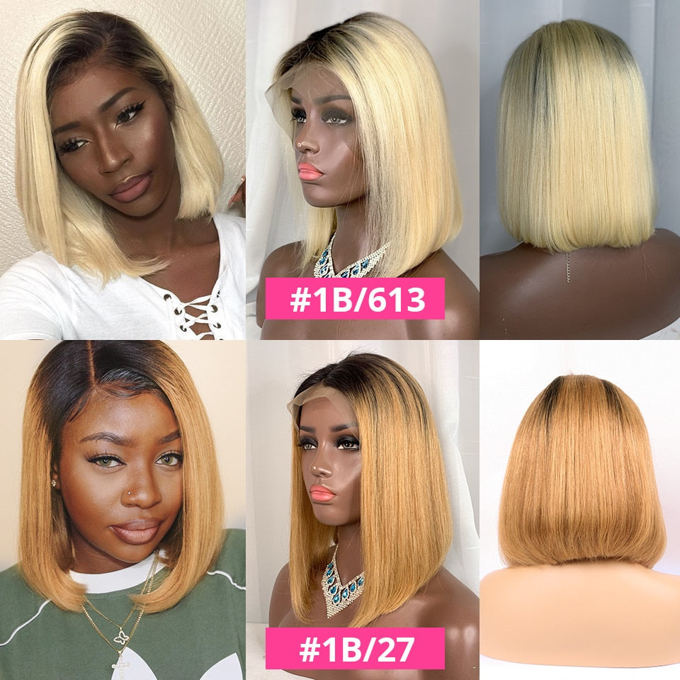 613 Short Bob Lace Front Human Hair Wigs Brazilian Straight Blonde Bob Lace Front Wigs Pre Plucked For Black Women AliPearl Hair