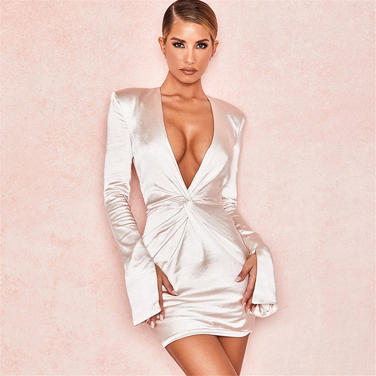 Sexy Deep V Neck Satin Dress Women Long Sleeve Split Cuff Robe Femme Evening Party Dress Ruched Bodycon Mini Vestidos