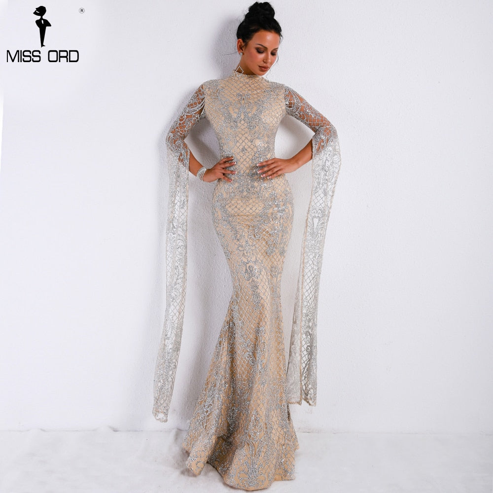 Women Sexy  High Neck Long Sleeve Split Glitter Dress Female Maxi Elegant Party Dress