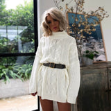 Women's Turtleneck Long Sweaters Winter Solid Twist Slit Dresses Loose Knitted Pullover Plus Size Jumpers Warm