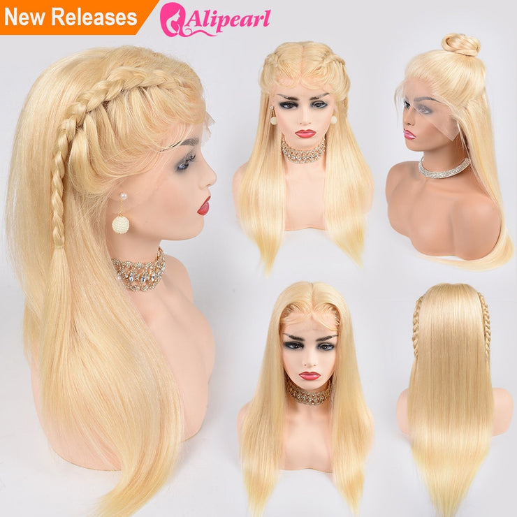 613 Blonde Lace Front Human Hair Wigs Pre Plucked 1B/613 Brazilian Remy Wigs For Black Women 150% 180% Density AliPearl Hair