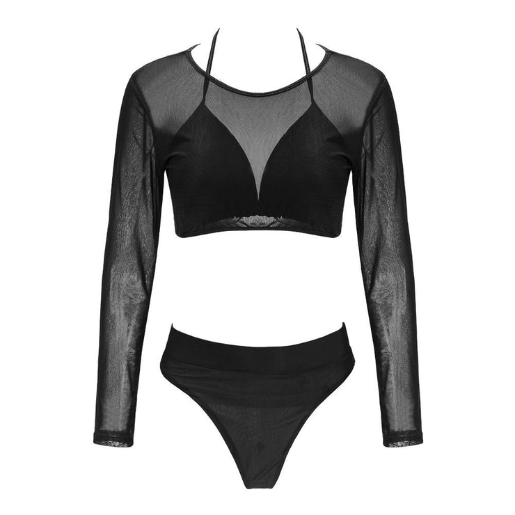 Summer Women Triangle Three-Piece Suit Sexy Bikini Set Bandage Push-Up Swimsuit Bathing Beachwear