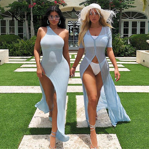 Kylie jenner robe vestidos Hot sale One Shoulder Split Summer ribbed Dress Women Slim Fit Sexy maxi Long Dress