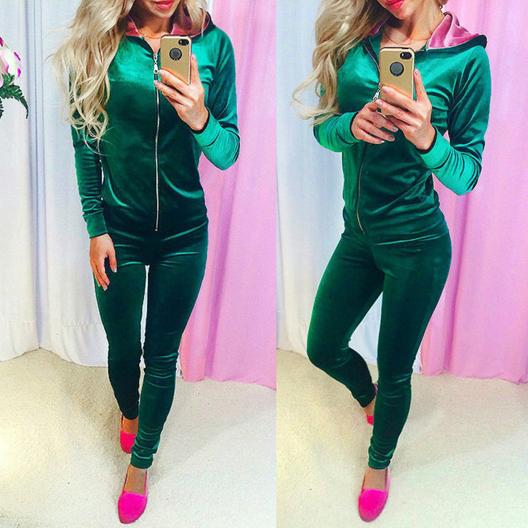 Velvet Women Sets Fashion Long Sleeve Bodycon Slim Sweat Suits Hoodies Tracksuit Sweatshirt Two Piece Trousers Women