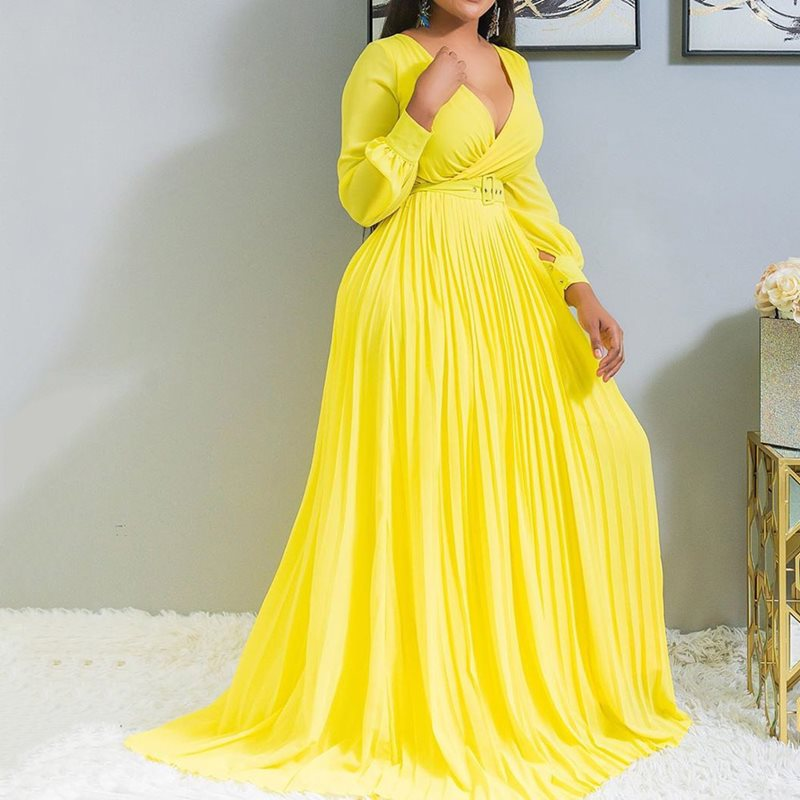 Yellow Sexy Lantern Sleeve Plus Size Office Ladies Women Long Dresses Pleated Plain Dinner Party Vintage Female  Maxi Dress