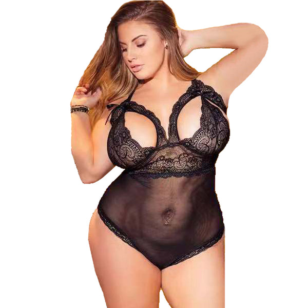 Women Sexy Lingerie Sleepwear Bodysuits Bandage Hollow Lace Babydolls Ladies Underwear See Through Nightwear Plus Size