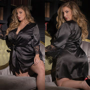 Sexy Lingerie Plus Size Satin Lace Black Kimono Intimate Sleepwear Robe Sexy Night Gown Women Erotic Underwear