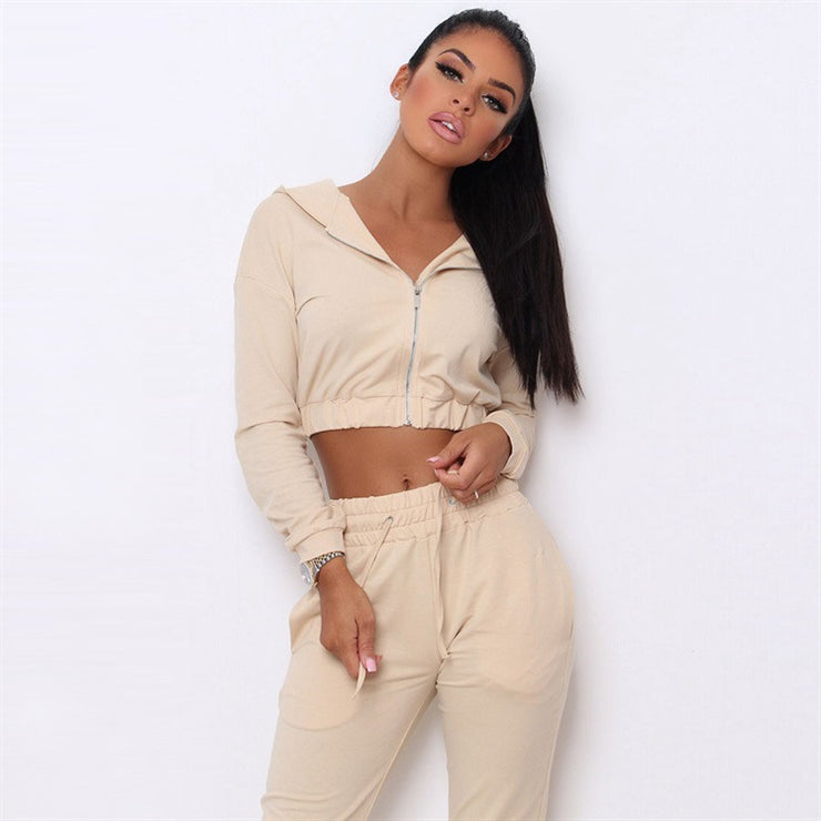 Women Autumn Sporting 2 Piece Sets Clothes Sportwear Short Hooded Zip Jackets Top + Solid Apricot Jogger Cargo Pants Tracksuits