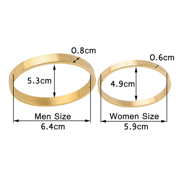 Luxury Gold  women men couple Lover Roman numerals Scale Cuff Titanium stainless steel bangle for men women jewelry