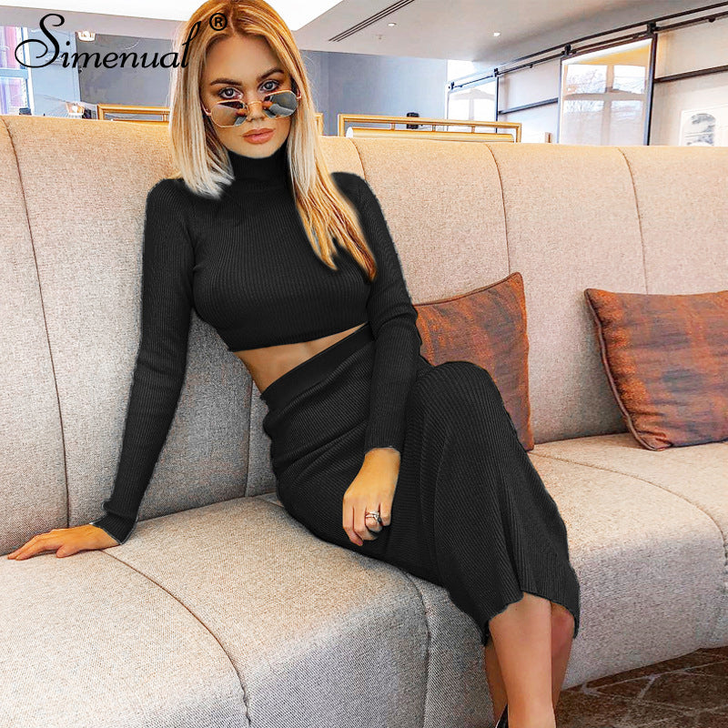 Simenual Solid Fashion Women Two Piece Sets 2019 Autumn Ribbed Long Sleeve Outfits Casual Slim Crop Top And Skirt Set