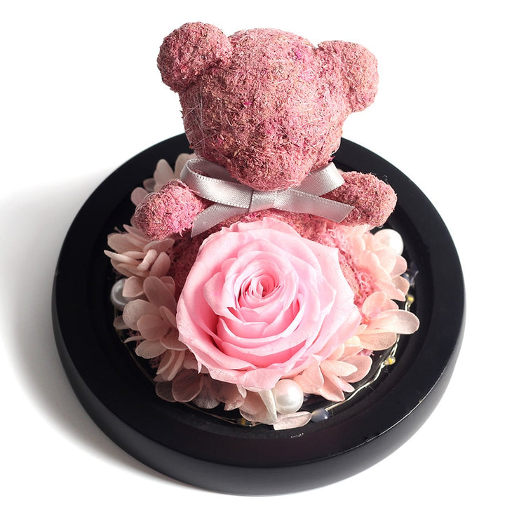 Eternal Preserved Fresh Rose Lovely Teddy Bear Molding LED Light In A Flask Immortal Rose Valentine&