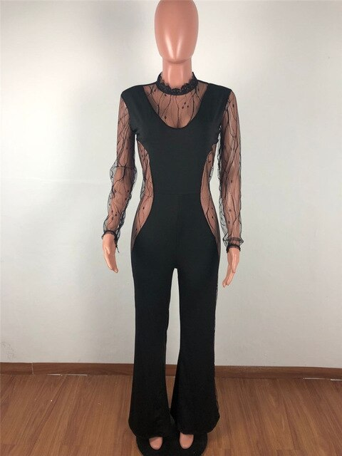 Summer Sexy Rompers Womens Jumpsuit Long Pants Elegant Patchwork Mesh Black Lace Jumpsuit Bodycon Party Club Jumpsuit Overalls