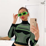 Long Sleeve Crop Top T Shirt Streetwear 2019 Geometric Print Sexy Womens Graphic Tops Kyliejenner