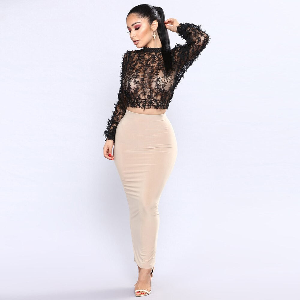Sexy Women Sheer Lace Crop Tops High Neck Long Sleeve Mesh Tshirts New Club Party Slim T Shirt Short Ladies Tops Black