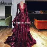 Dubai Muslim Abaya Turkish Evening Dress Long Sleeves Prom Dresses V Neck  Pageant Party Gowns Robe De Soiree Longue Custom